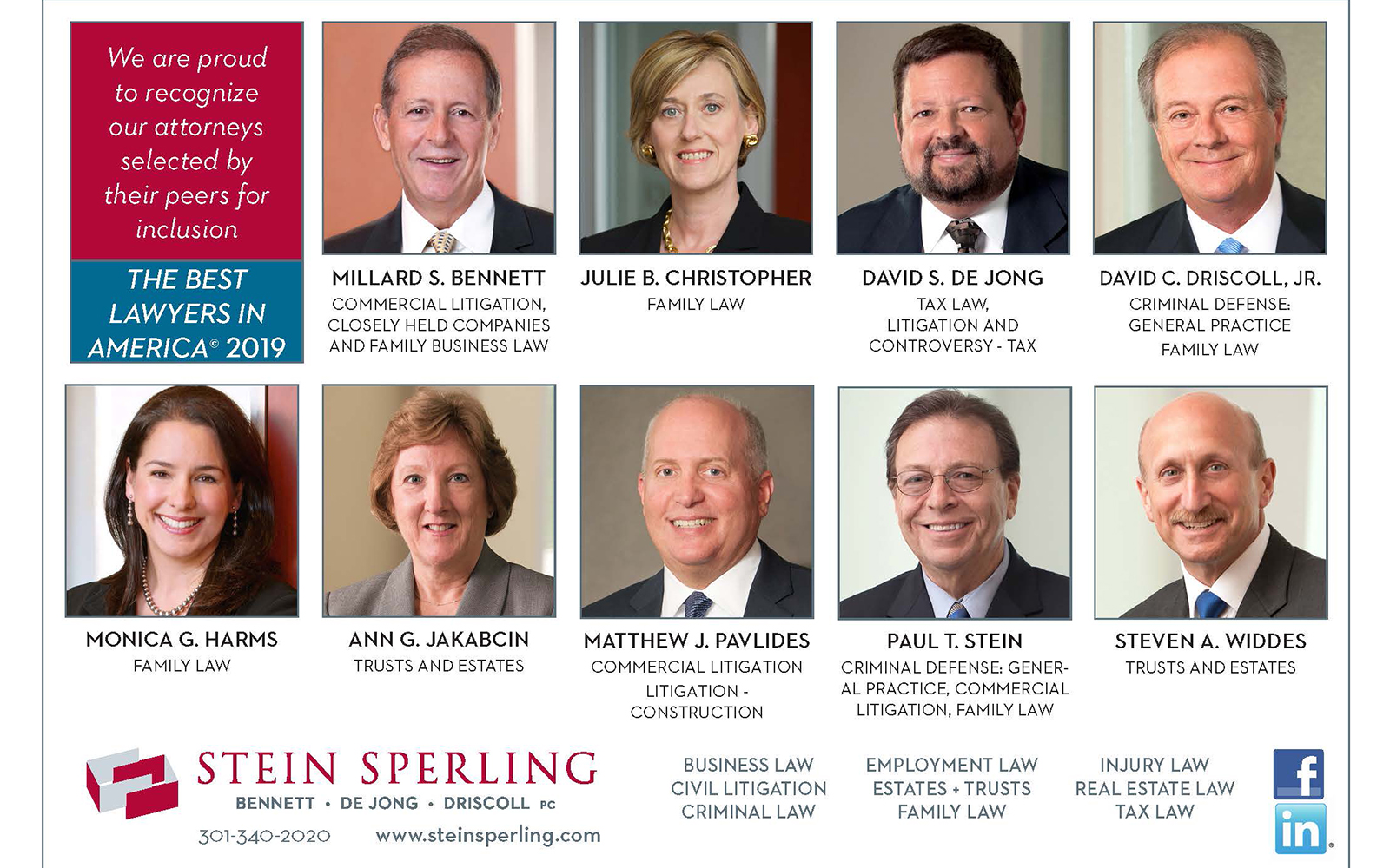 Best Lawyers in America recognizes Nine Stein Sperling attorneys