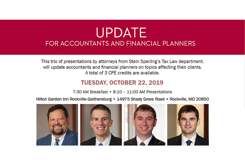 Update for Accountants and Financial Planners